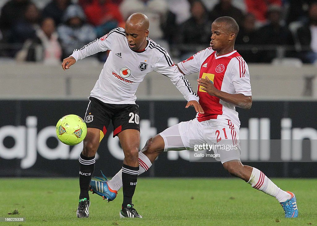 Oupa Manyisa of Orlando Pirates during the Absa Premiership match between Ajax Cape Town and Orlando Pirates from Cape Town Stadium on April 10, 2013 in Cape Town, South Africa.