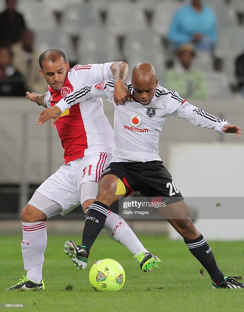 Oupa Manyisa of Orlando Piratesduring the Absa Premiership match between Ajax Cape Town and Orlando Pirates from Cape Town Stadium on April 10, 2013 in Cape Town, South Africa.
