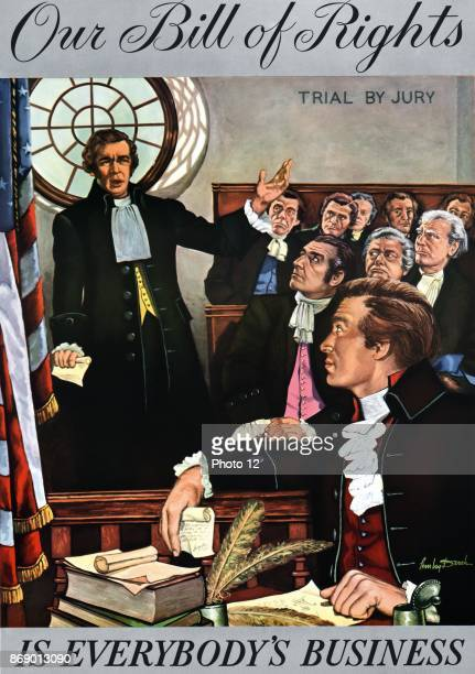 Our Bill of Rights is everybody's business Print shows an early American courtroom scene labelled 'trial by Jury' with a man possibly a jury foreman...