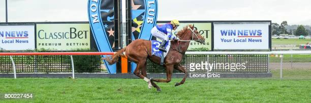 Our Foxwedge ridden by Brian Werner wins the First National Real Estate 3YO Maiden Plate at Moe Racecourse on June 24 2017 in Moe Australia