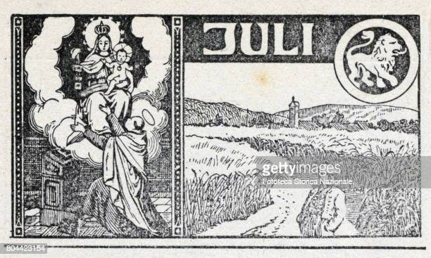 Our Lady of Mount Carmel the middle of summer and the harvest maturity zodiac sign of the Leo Header sheet for the month June in a German almanac...