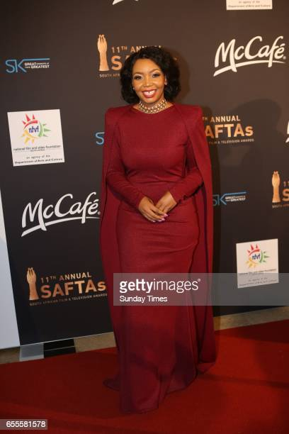 Our Perfect Wedding host Thembisa Mdoda poses on the red carpet during the South African Film and Television Awards at Sun City on March 18 2017 in...