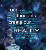 Deep space background with a lotus seated buddha in left corner and a word cloud surrounding the phrase OUR THOUGHTS CREATE OUR REALITY