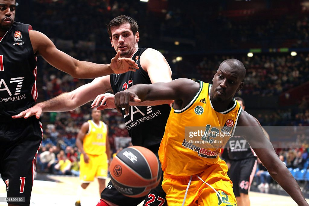 Ousmane Camara, #12 of Limoges CSP competes with Stanko Barac, #27 of EA7 Emporio Armani Milan during the Turkish Airlines Euroleague Basketball Regular Season Round 10 game between EA7 Emporio Armani Milan v Limoges CSP at Mediloanum Forum on December 18, 2015 in Milan, Italy.