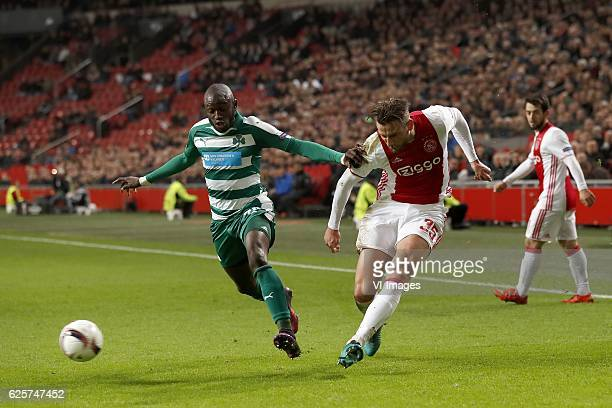 Ousmane Coulibaly of Panathinaikos FC Mitchell Dijks of Ajaxduring the UEFA Europa League group G match between Ajax Amsterdam and Panathinaikos FC...