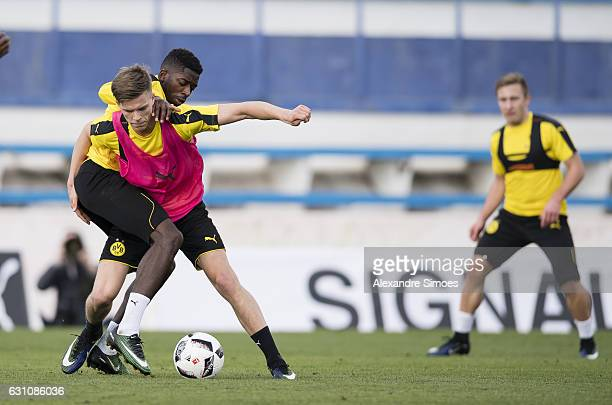 Ousmane Dembele and Dzenis Burnic of Borussia Dortmund during the second day of the training camp at Estadio Municipal de Marbella on January 06 2017...