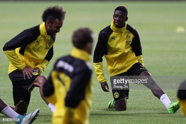 Ousmane Dembele and PierreEmerick Aubameyang of Dortmund in action duirng training session ahead of the 2017 International Champions Cup football...