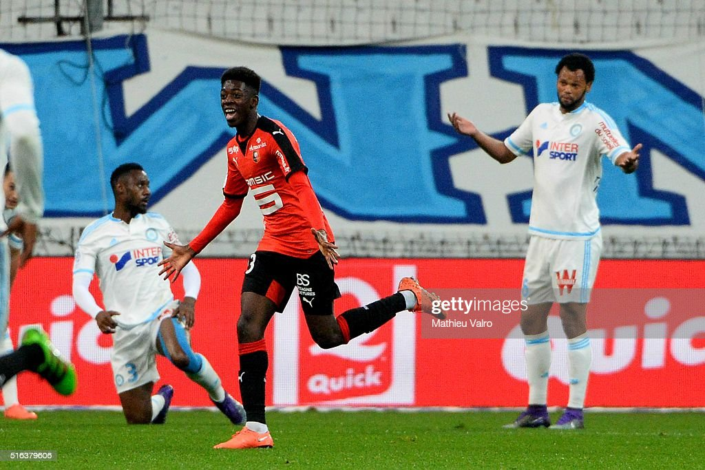Ousmane DEMBELE celebrates his goal during the French Ligue 1 match between Olympique de Marseille v Stade Rennes at Stade Velodrome on March 18 2016...
