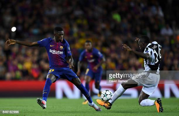 Ousmane Dembele of Barcelona and Blaise Matuidi of Juventus battle for possession during the UEFA Champions League Group D match between FC Barcelona...