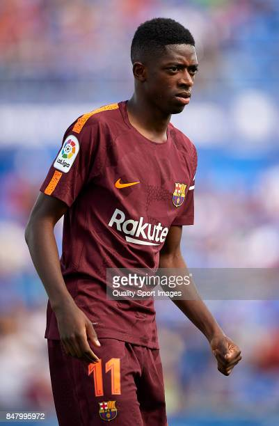 Ousmane Dembele of Barcelona looks on during the La Liga match between Getafe and Barcelona at Coliseum Alfonso Perez on September 16 2017 in Getafe...