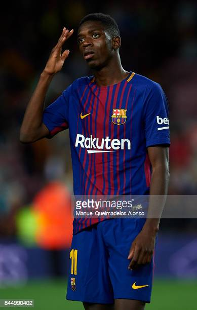 Ousmane Dembele of Barcelona reacts after the La Liga match between Barcelona and Espanyol at Camp Nou on September 9 2017 in Barcelona Spain