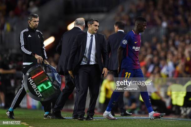 Ousmane Dembele of Barcelona walks off after being subbed during the UEFA Champions League Group D match between FC Barcelona and Juventus at Camp...