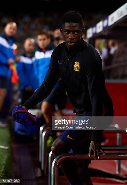 Ousmane Dembele of Barcelona walks to the bench prior to the La Liga match between Barcelona and Espanyol at Camp Nou on September 9 2017 in...