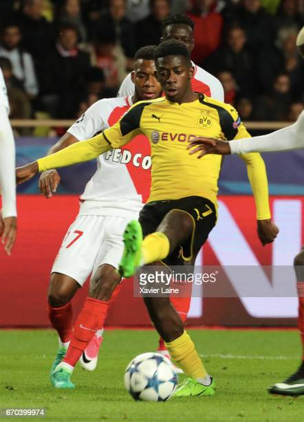 Ousmane Dembele of Borrussia Dortmund in action during the UEFA Champions League Quarter Final second leg between AS Monaco and Borussia Dortmund at...