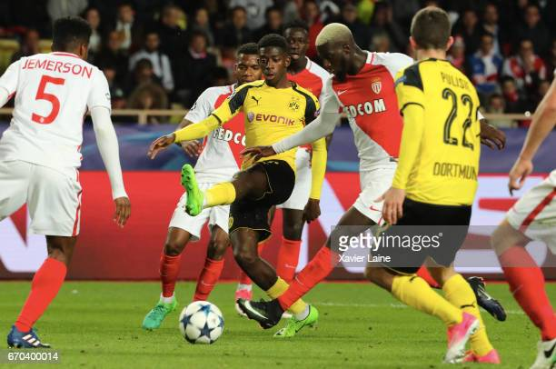 Ousmane Dembele of Borrussia Dortmund in action with Tiemoue Bakayoko of AS Monaco during the UEFA Champions League Quarter Final second leg between...