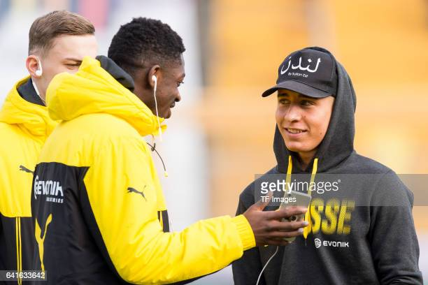 Ousmane Dembele of Borussia Dortmund and Emre Mor of Borussia Dortmund looks on during the Bundesliga match between SV Darmstadt 98 and Borussia...