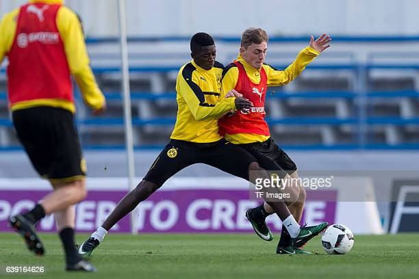 Ousmane Dembele of Borussia Dortmund and Jacob Bruun Larsen of Borussia Dortmund battle for the ball during the sixth day of the training camp in...