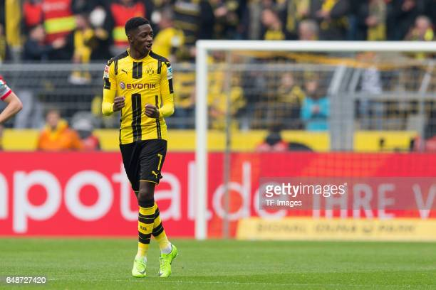 Ousmane Dembele of Borussia Dortmund celebrates after scoring a goal during the Bundesliga match between Borussia Dortmund and Bayer 04 Leverkusen at...