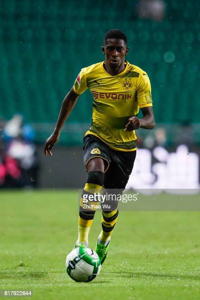 Ousmane Dembele of Borussia Dortmund controls the ball at University Town Sports Centre Stadium during the 2017 International Champions Cup match on...