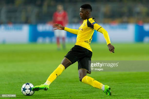 Ousmane Dembele of Borussia Dortmund controls the ball during the UEFA Champions League Round of 16 Second Leg match between Borussia Dortmund and SL...