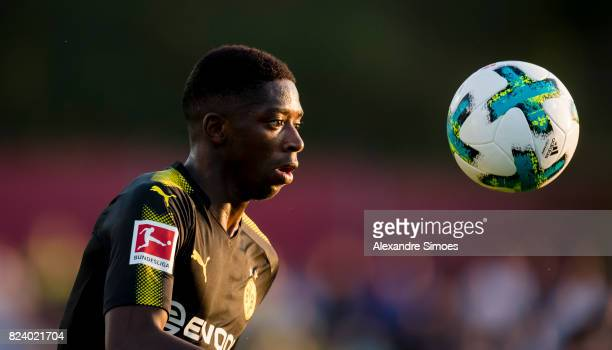 Ousmane Dembele of Borussia Dortmund in action during a friendly match between Espanyol Barcelona and Borussia Dortmund as part of the training camp...