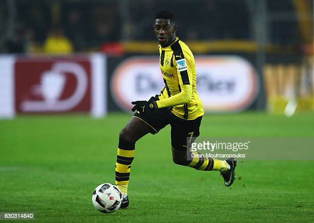 Ousmane Dembele of Borussia Dortmund in action during the Bundesliga match between Borussia Dortmund and FC Augsburg at Signal Iduna Park on December...
