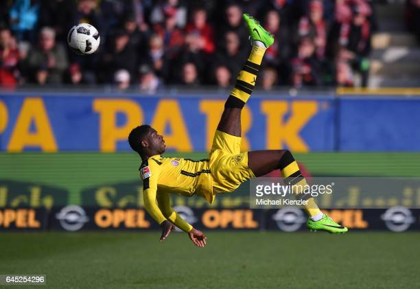Ousmane Dembele of Borussia Dortmund in action during the Bundesliga match between Sport Club Freiburg and Borussia Dortmund at SchwarzwaldStadion on...