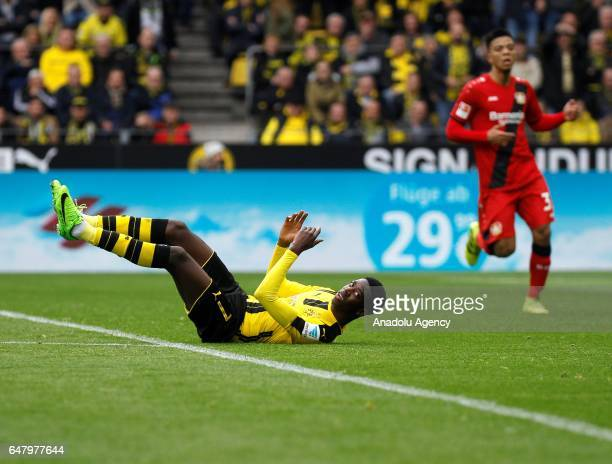 Ousmane Dembele of Borussia Dortmund in action during the Bundesliga soccer match between Borussia Dortmund and Bayer 04 Leverkusen at the Signal...