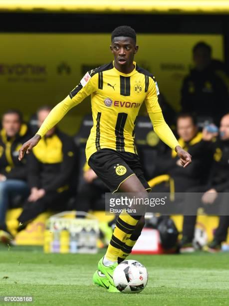 Ousmane Dembele of Borussia Dortmund in action during the Bundesliga match between Borussia Dortmund and Eintracht Frankfurt at Signal Iduna Park on...