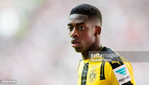 Ousmane Dembele of Borussia Dortmund in action during the Bundesliga match between FC Augsburg and Borussia Dortmund at the WWKArena on May 13 2017...