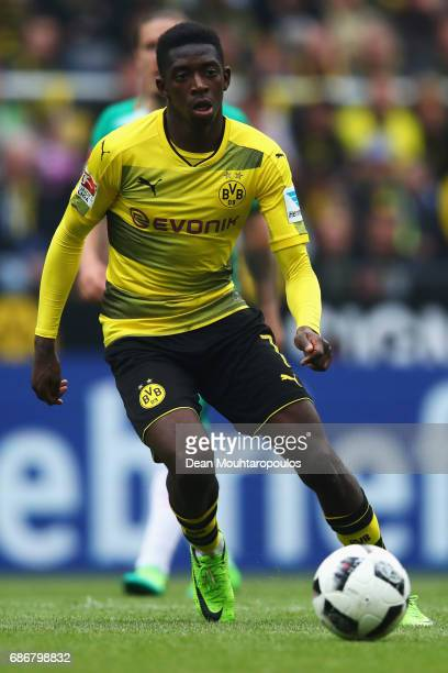 Ousmane Dembele of Borussia Dortmund in action during the Bundesliga match between Borussia Dortmund and Werder Bremen at Signal Iduna Park on May 20...