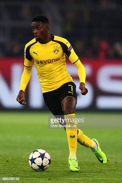 Ousmane Dembele of Borussia Dortmund in action during the UEFA Champions League Round of 16 second leg match between Borussia Dortmund and SL Benfica...