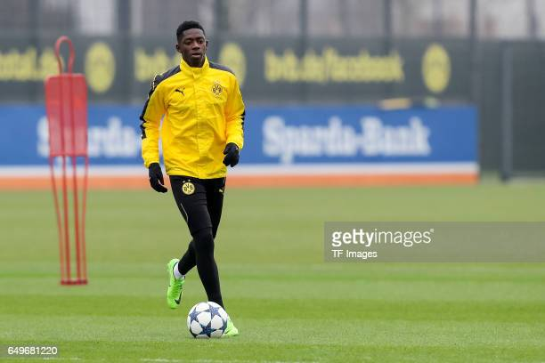 Ousmane Dembele of Borussia Dortmund in action prior the training of Borussia Dortmund ahead of the UEFA Champions League Round of 16 second leg...