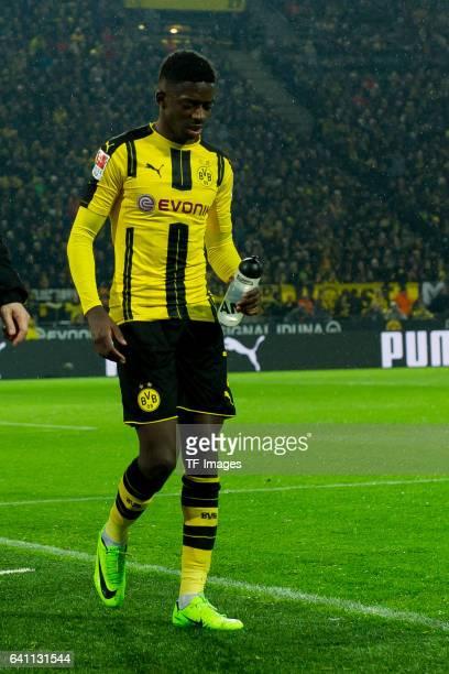 Ousmane Dembele of Borussia Dortmund injured during the Bundesliga soccer match between Borussia Dortmund and RB Leipzig at the Signal Iduna Park in...