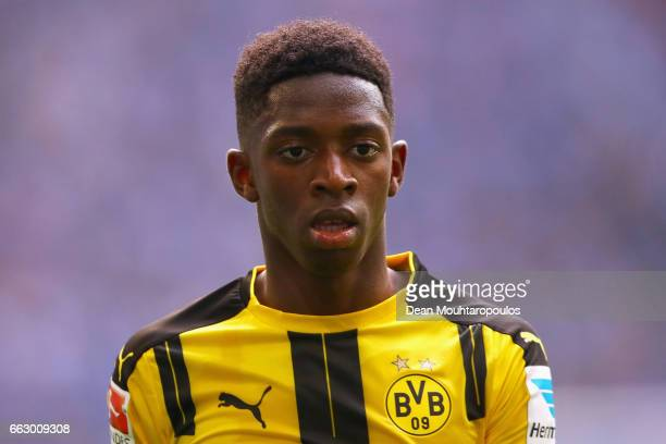 Ousmane Dembele of Borussia Dortmund looks on during the Bundesliga match between FC Schalke 04 and Borussia Dortmund at VeltinsArena on April 1 2017...
