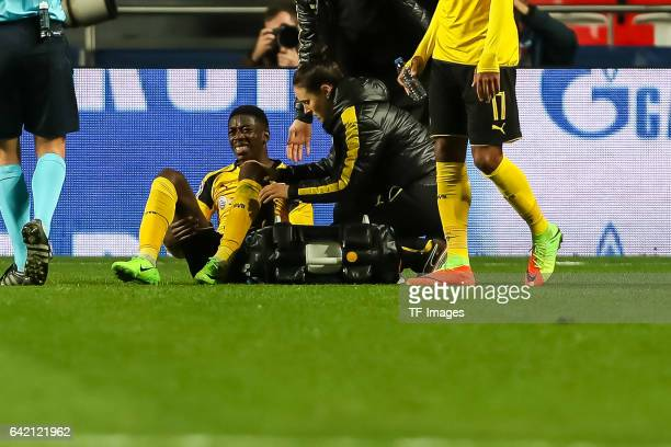 Ousmane Dembele of Borussia Dortmund on the ground during the UEFA Champions League Round of 16 First Leg match between SL Benfica and Borussia...