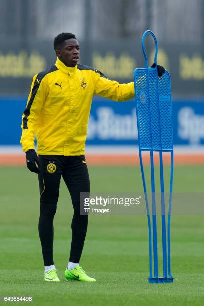 Ousmane Dembele of Borussia Dortmund prepares prior the training of Borussia Dortmund ahead of the UEFA Champions League Round of 16 second leg match...