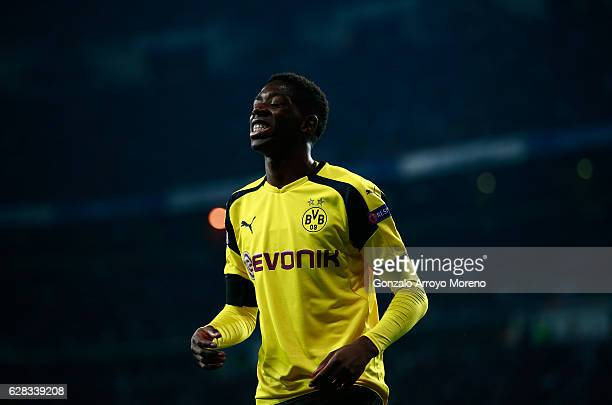 Ousmane Dembele of Borussia Dortmund reacts to missing a chance during the UEFA Champions League Group F match between Real Madrid CF and Borussia...