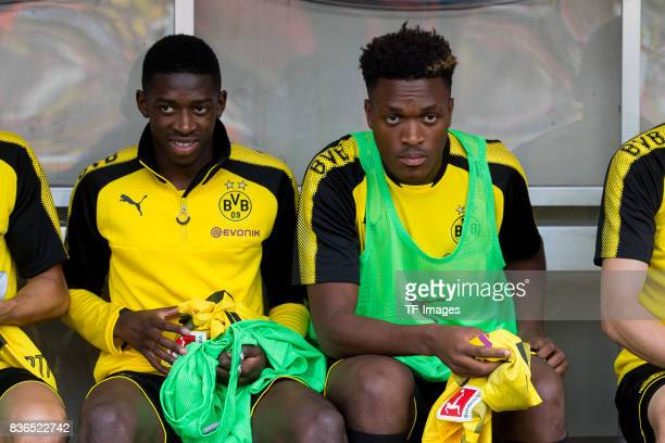 Ousmane Dembele of Dortmund and DanAxel Zagadou of Dortmund sits on the bench during the preseason friendly match between RotWeiss Essen and Borussia...