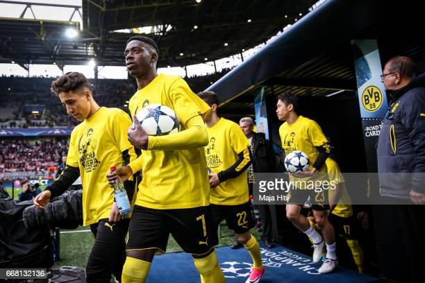 Ousmane Dembele of Dortmund arrives prior the UEFA Champions League Quarter Final first leg match between Borussia Dortmund and AS Monaco at Signal...