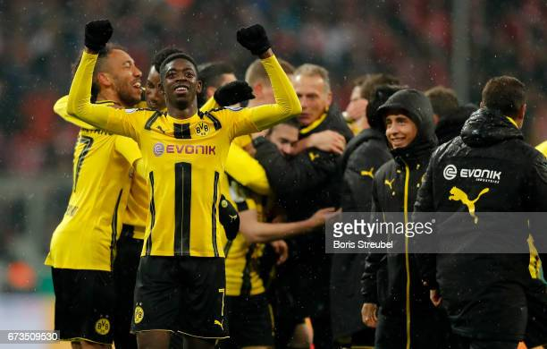 Ousmane Dembele of Dortmund celebrate victory after the DFB Cup semi final match between FC Bayern Muenchen and Borussia Dortmund at Allianz Arena on...