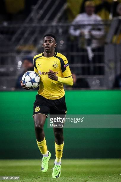 Ousmane Dembele of Dortmund celebrates after scoring a goal to make it 12 during the UEFA Champions League Quarter Final first leg match between...