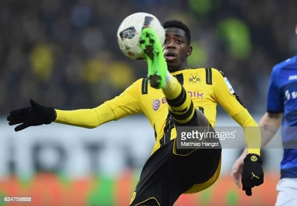 Ousmane Dembele of Dortmund controls the ball during the Bundesliga match between SV Darmstadt 98 and Borussia Dortmund at Stadion am Boellenfalltor...