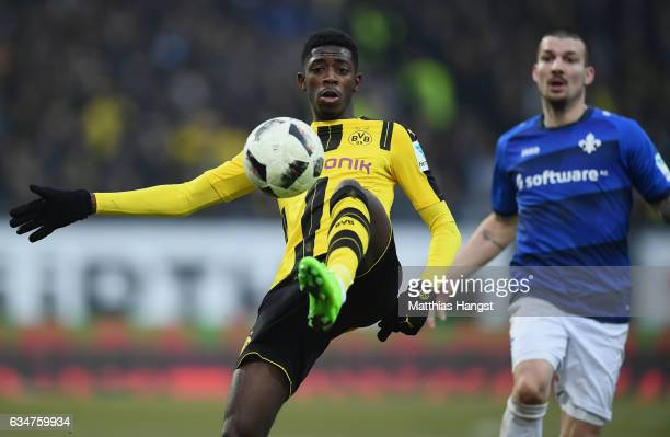Ousmane Dembele of Dortmund controls the ball during the Bundesliga match between SV Darmstadt 98 and Borussia Dortmund at Stadion am Boellenfalltor...