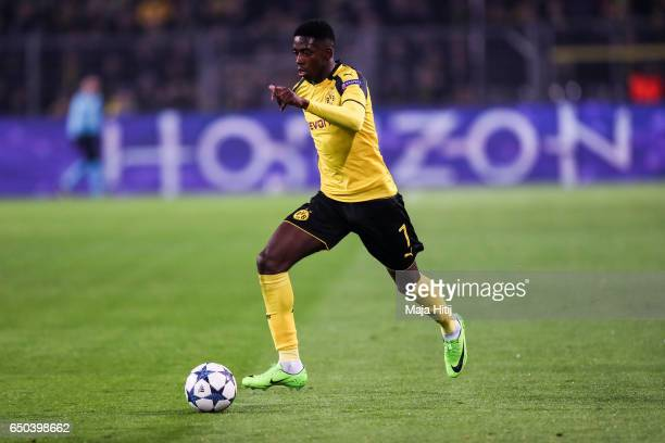 Ousmane Dembele of Dortmund controls the ball during the UEFA Champions League Round of 16 second leg match between Borussia Dortmund and SL Benfica...