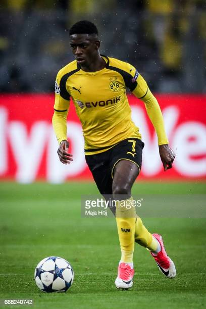 Ousmane Dembele of Dortmund controls the ball during the UEFA Champions League Quarter Final first leg match between Borussia Dortmund and AS Monaco...