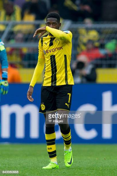 Ousmane Dembele of Dortmund gestures during the Bundesliga match between Borussia Dortmund and VfL Wolfsburg at Signal Iduna Park on February 18 2017...
