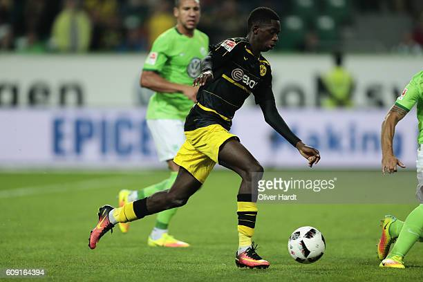 Ousmane Dembele of Dortmund in action during the Bundesliga match between VfL Wolfsburg and Borussia Dortmund at Volkswagen Arena on September 20...