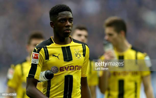 Ousmane Dembele of Dortmund is seen after the Bundesliga match between FC Schalke 04 and Borussia Dortmund at VeltinsArena on April 1 2017 in...