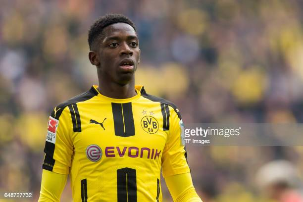 Ousmane Dembele of Dortmund looks on during the Bundesliga match between Borussia Dortmund and Bayer 04 Leverkusen at Signal Iduna Park on March 4...